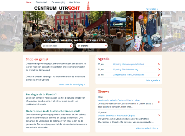 Webdesign voor Centrum Utrecht website.